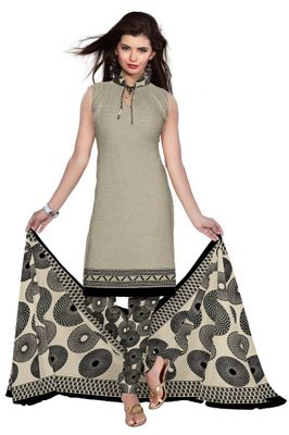 Grey Synthetic Unstitched Churidar Printed Salwar Suit Dress Materials