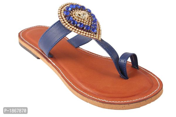 Blue One Toe Flats For Womens