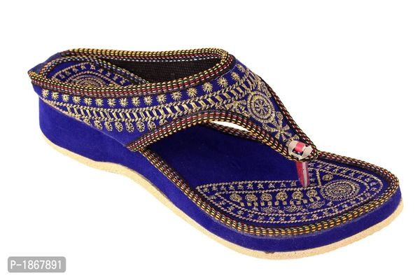 Blue T-Strap Flats For Womens