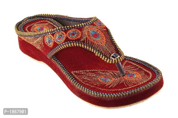 Maroon T-Strap Flats For Womens