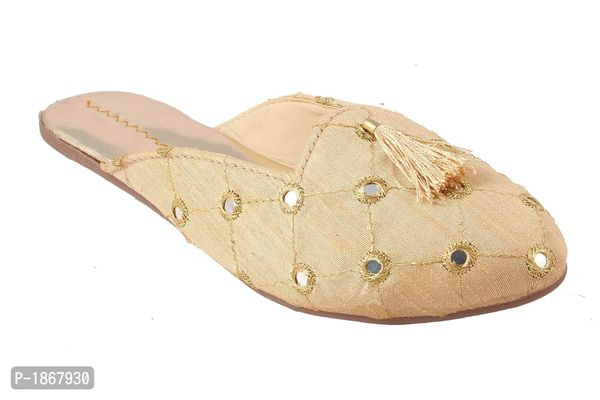 Golden Mules For Womens