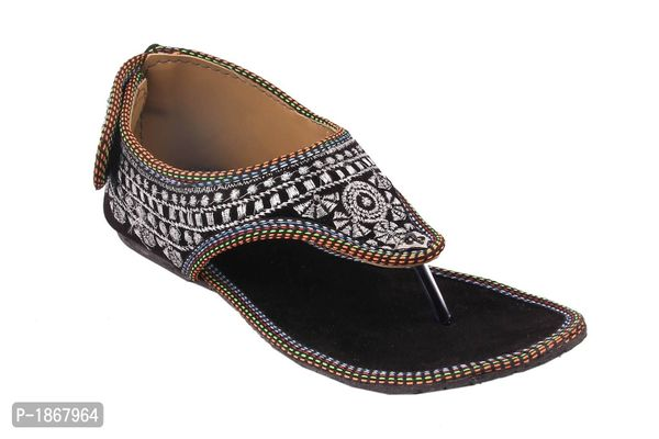 Black T-Strap Flats For Womens
