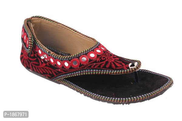 Red T-Strap Flats For Womens