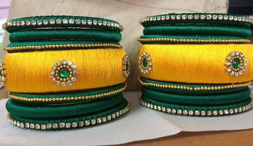 Yellow with Green silk  bangles