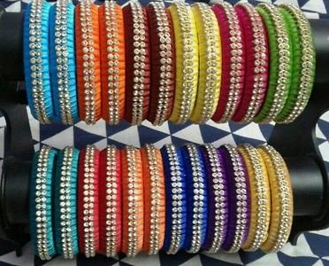 Simple stoned silk thread bangles