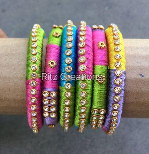Colorful silk thread bangles