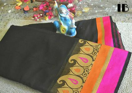 IB Presenting d Black Collections especially for Black Luvers.. Silk Cotton Sarees with Rich Golden Zari borders at d very reasonable price.. Only Singles.