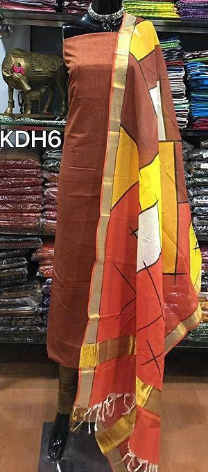Hand painted kerala cotton dupatta teamed up with handloom cotton top with out bottom