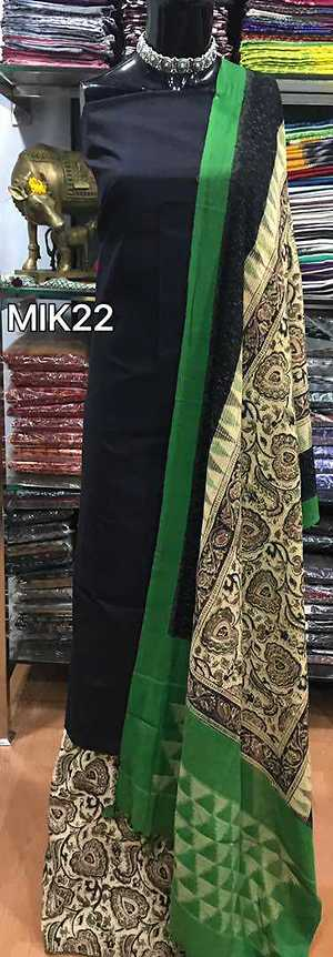 kalamkari work done pure handloom cotton ikkat dupatta teamed up with kalamkari cotton bottom & handloom cotton top Note**colours may vary slightly from the photograph. Available in Multiples