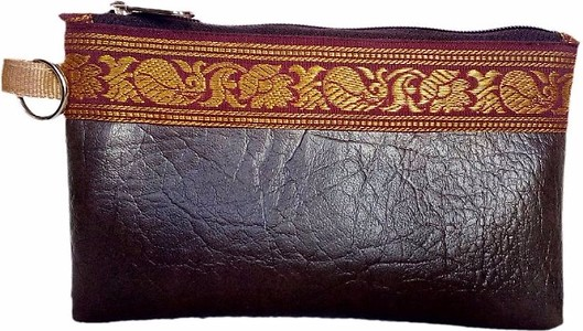 AUK Women's Leather Money Coin Purse  (Brown)