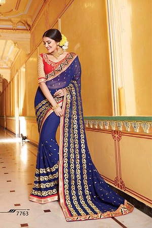 Georgette Saree and Georgette blouse