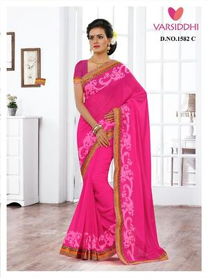 Georgette saree with heavy embroidery