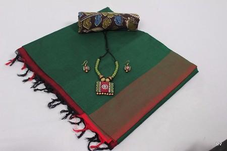 Very  Soft  Plain Polycotton saree