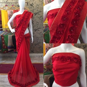 Party wear, Gorgette Saree with ribbon work