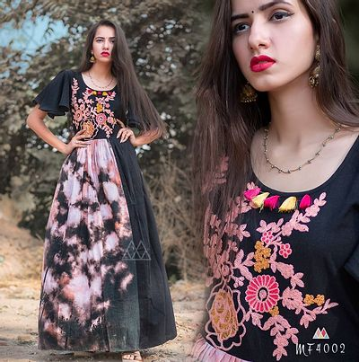 Black Stitched Ethnic Gown