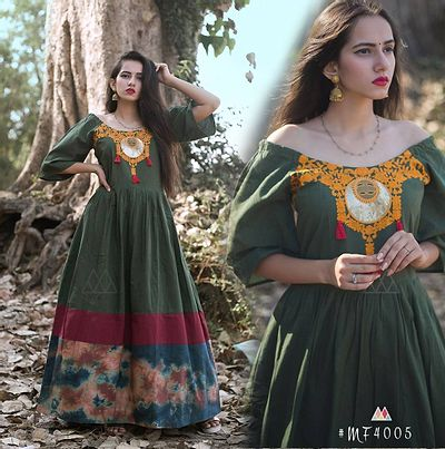 Green Stitched Ethnic Gown