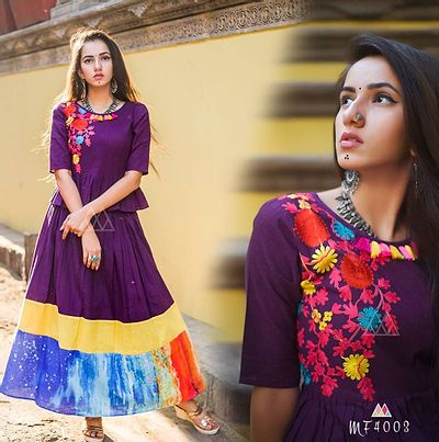 Purple Stitched Ethnic Gown