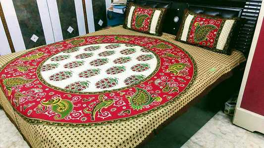 Jaipuri Cotton Double Bedsheet With 2 Pillow Covers