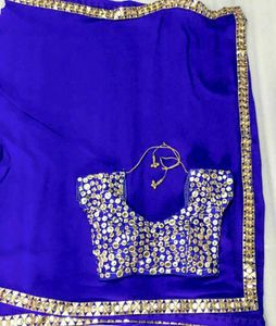 60gm Georgette Saree with Foil Mirror Blouse