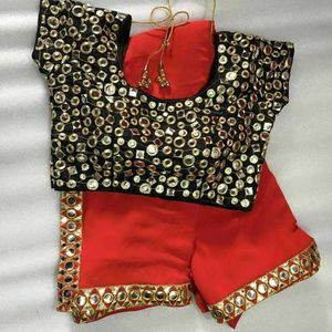 60gm Georgette Saree with Foil Mirror Stitched Blouse