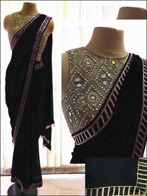 Real Mirror blouse with Saree