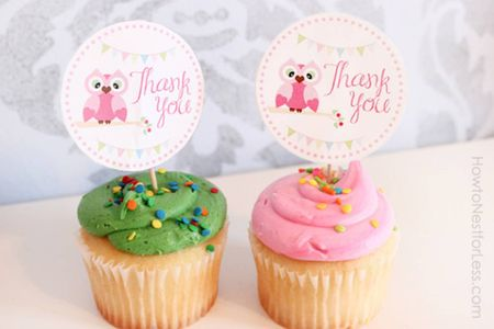 Owl cup Cake topper set of 50