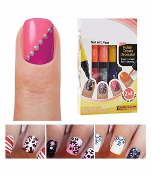 Kartsasta 2 in 1 Hot Designs Beautiful Nail Art Polish Pens  With 6 Glitz & Glam Colors