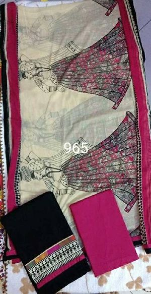 black worli with pink border dress material