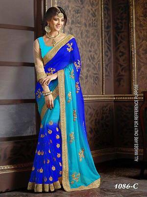 Georgett sarees with embroidery work