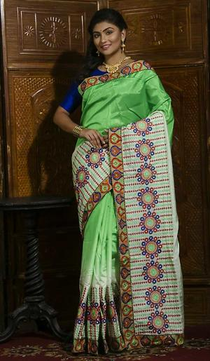 dhupion silk with embroidery work