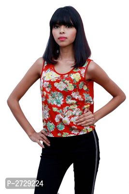 Red Polyester Regular Length Top