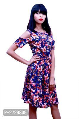 Multicoloured Polyester Knee Length Dress For Women's