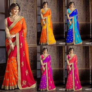Georgette Padding Embroidery Sarees