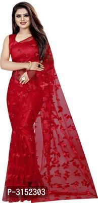 Beautiful Red Embellished Net Saree With Blouse Piece