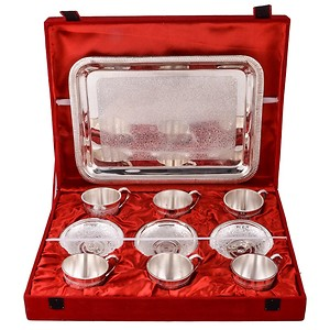 German Silver Plated 6 Cup Plate Set Wit Tray