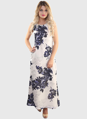 Belle-Fille-Cream-Colored-Printed-Maxi-Dress