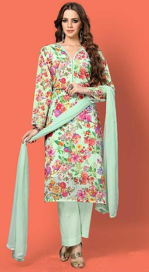 Cotton Embroidered Suits with Pure chiffon dupattas