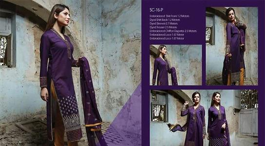 Shahbano lawn by Karachi  100% Original  Fully embroidered lawn front  Pure embroidered Chiffon/ printed silk  dupatta  Printed lawn back  Plain trouser