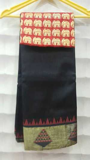 Tussar silk sarees with designer brocade blouses  Two blouses one is running