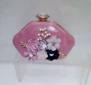IMPORTED FANCY LADIES FLOWER CLUTCH WITH SLING👆PRICE *1100 plus shipping*