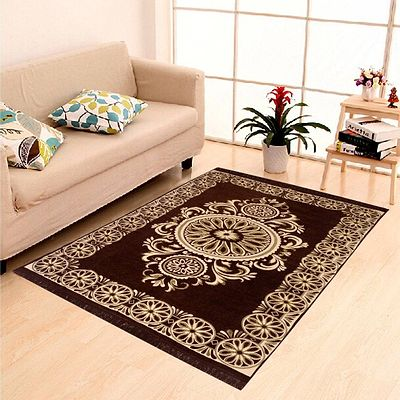 Brown  Ethnic  Touch Abstract Chenille Carpet - 54