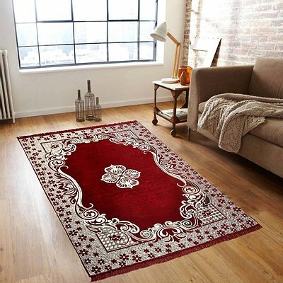 Maroon  Ethnic  Touch Abstract Chenille Carpet - 54