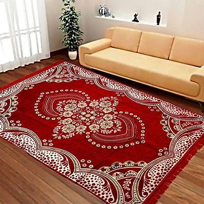 Red  Ethnic  Touch Abstract Chenille Carpet - 54