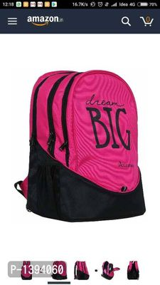 big 3 polyster 38 Ltr pink and black laptop bag