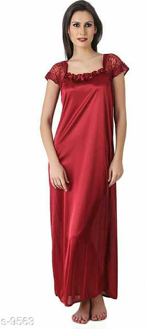 Satin Night Gown Fabric: Satin  Length - Full Length, Neck Type - Round Neck, Sleeves - Short Sleeves, Fit - Regular F