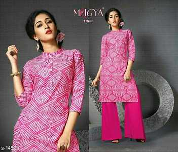 Orchid Fabric: Cotton Cambric  Sleeves - 3/4 Sleeve, Neck Type - Round Neck (Chinese Collar)  Size: L - 40 in, XL - 42 in, XXL - 44 in  Length: Upto 42 in