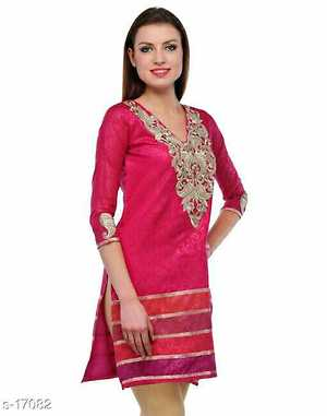 Designs With Embroidery Fabric: Jacquard  Size: S - 36in, M - 38in, L - 40in, XL - 42in Length: 42in Work: Lace Work
