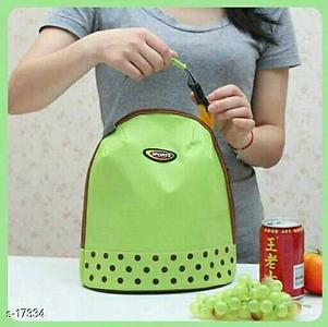 Insulated Thermal Lunch Box Bag Material: Canvas Dimension: L X W X H - 27cm X 15cm X 23cm (Approx) Description: open top zipper; easy ribbon handle to carry And Perfect For Everyday Use Like Small Lunch Box, Fruits , Small Bottle.