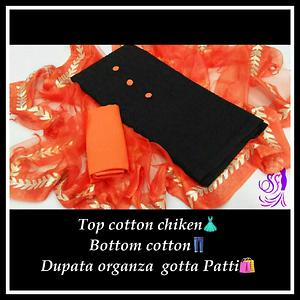 Top cotton  chiken,  duptta  organza ,bottom  cotton
