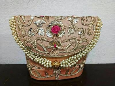 elegance par excellence  hand embroided zardozi work flap clutches are now in stock  size 9×6